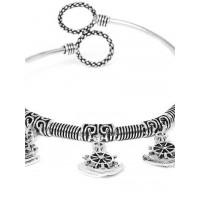 Oxidized Silver Bracelet with Unique Wheel Charms