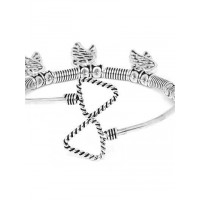 Oxidized Silver Bracelet with Feather Charms