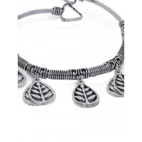 Adjustable Oxidized Silver Bracelet with Leaf Charms