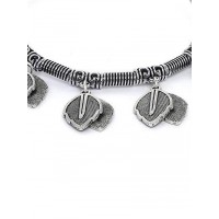 Adjustable Oxidized Silver Bracelet with Classic Leaf Charms