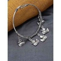 Adjustable Oxidized Silver Bracelet with Duck Charms