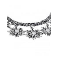 Adjustable Oxidized Silver Bracelet with Surya Charms