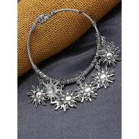 Adjustable Oxidized Silver Bracelet with Surya Charms