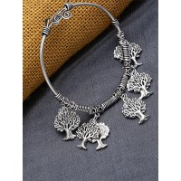 Adjustable Oxidized Silver Bracelet with Vintage Tree Charms