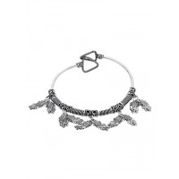 Adjustable Oxidized Silver Bracelet with Fish Charms