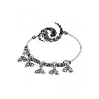 Adjustable Oxidized Silver Bracelet with Buddha Charms