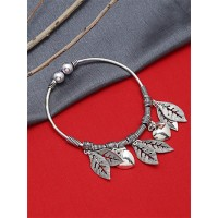 Adjustable Oxidized Silver Bracelet with Heart and Classic Leaf Charms