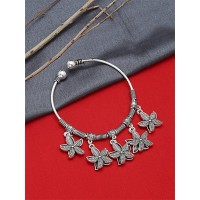 Adjustable Oxidized Silver Bracelet with Starfish Charms