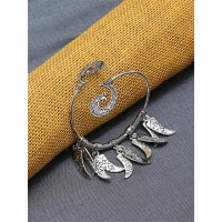 Adjustable Oxidized Silver Bracelet with Sword Charms