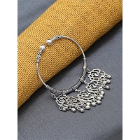 Adjustable Oxidized Silver Bracelet with Rose Charms
