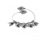 Adjustable Oxidized Silver Bracelet With Designer Leaves Charms