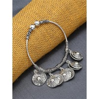 Adjustable Oxidized Silver Bracelet with Designer Coin Charms