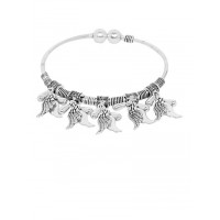 Adjustable Oxidized Silver Bracelet with Shell Charms