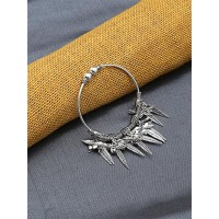 Adjustable Oxidized Silver Bracelet with Charms