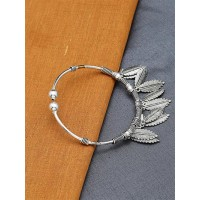 Adjustable Oxidized Silver Bracelet with Leaves Charms