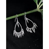 Oxidized Silver Hoop Earrings