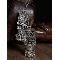 Intricate Floral Design Embellished Square Shaped Oxidized Silver Long Jhumki Earrings