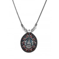 Red and Green Deity Oxidized Silver Pendant Necklace