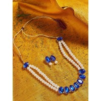Blue Stones Embellished Long Pearl Necklace Set
