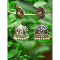 Dainty Oxidized Tribal Jewellery Silver Jhumkis with Metallic Bells