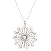 Pearl Sun Ray Silver Jewellery Pendant Necklace