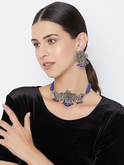 Antique Silver Plated Blue Gemstones Studded Brass Choker Necklace