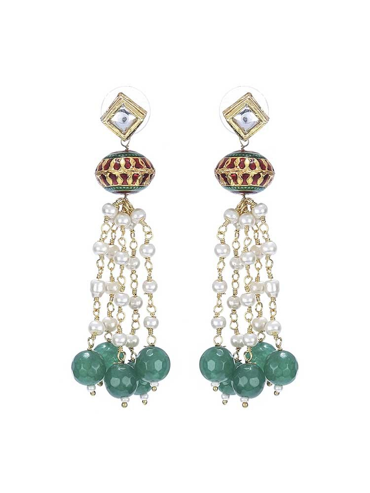 Gold Plated Kundan Tassels Party Wear Earrings