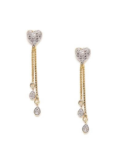 American Diamond Heart Earrings