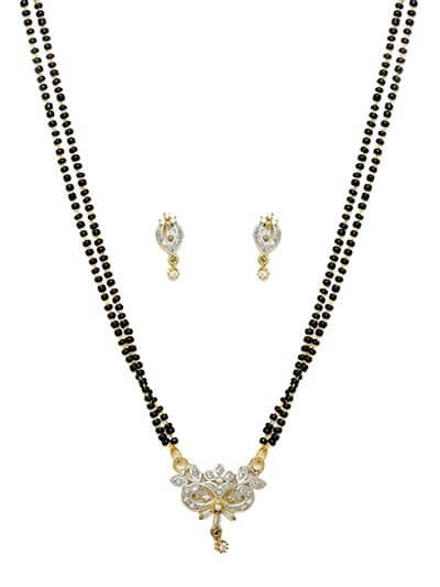 American Diamond Mangalsutra with Short Floral Pendant and Earrings