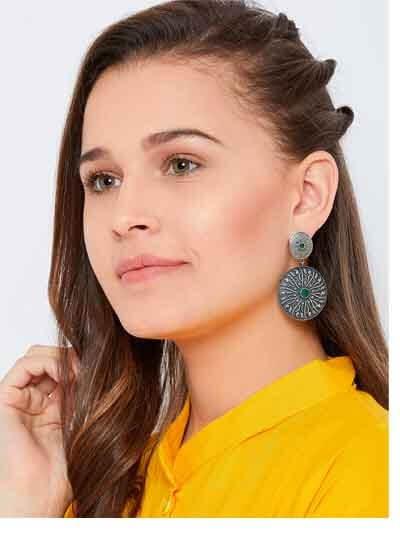 Circular Silver Plated Brass Earrings For Women