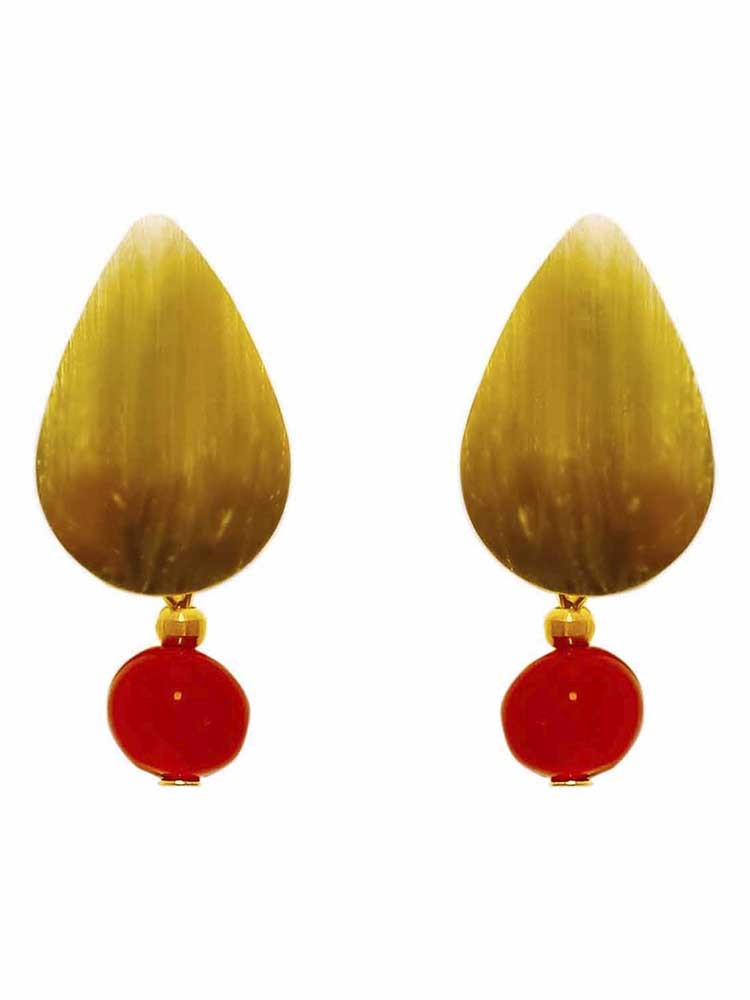 Wooden Red Agate Drop Earrings