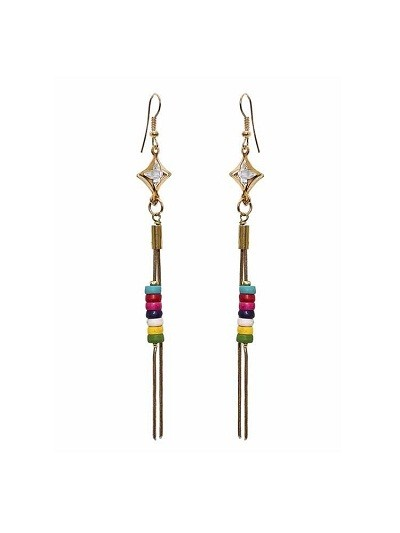 Colorful Hanging Beads in Tassel Handmade Jewellery Earrings