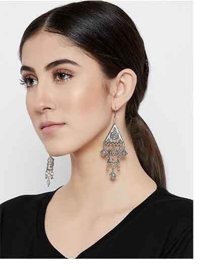 Hanging Diamonds and Triangles Tribal Jewellery Earrings