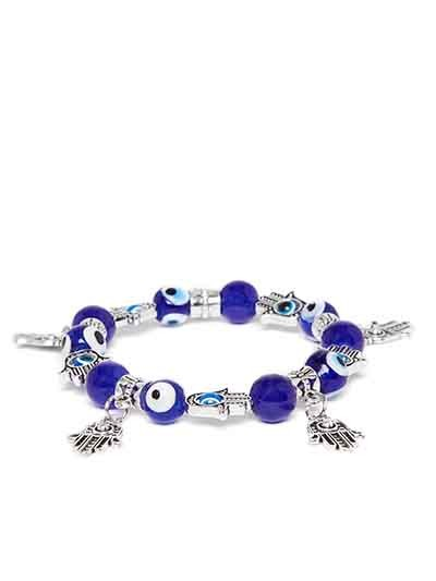 Blue Beaded Hands of Allah Charm Bracelet