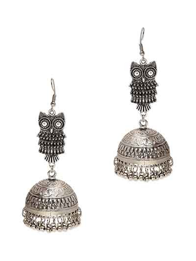 Owl Head Ethnic Silver Jhumka Earrings