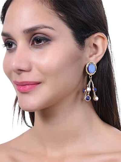 Blue Druzy, Lapis Lazuli and Howlite Handmade Jewellery Earrings