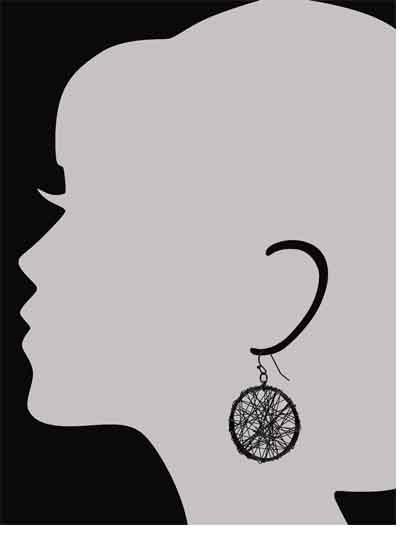 Alloy Metal Mesh Maven Western Earrings for Women