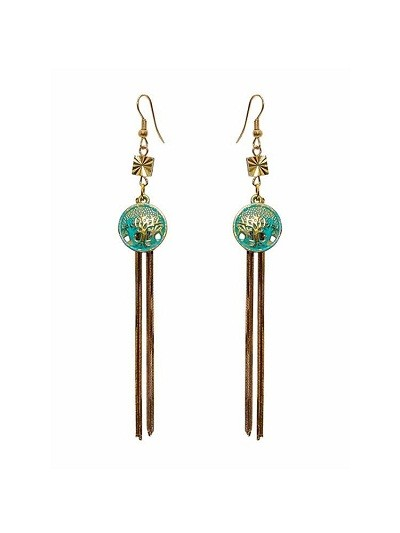 Teal Charm Tassel Party Wear Earrings