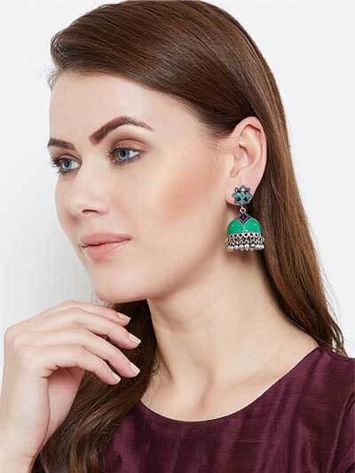 Green and Blue Meenakari Jhumki Earrings