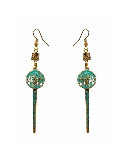 Teal Charm Hanging Handmade Jewellery Earrings
