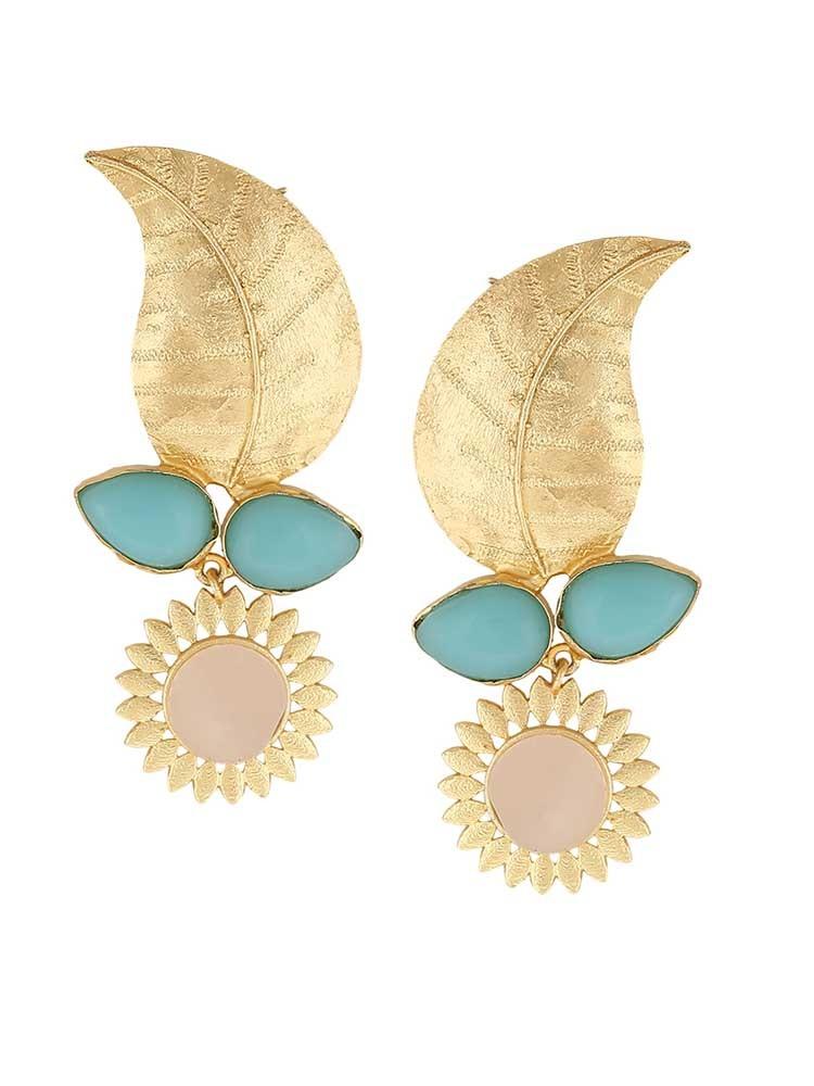 Modern Leaflet Turquoise and Rose Quartz Earrings