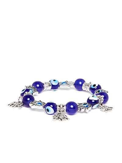 Blue and Silver Elephant Charm Bracelet