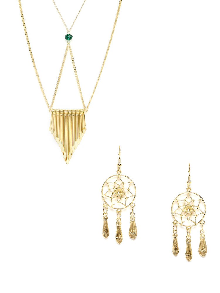 Golden Layered Necklace and Dream-catcher Western Earrings Combo