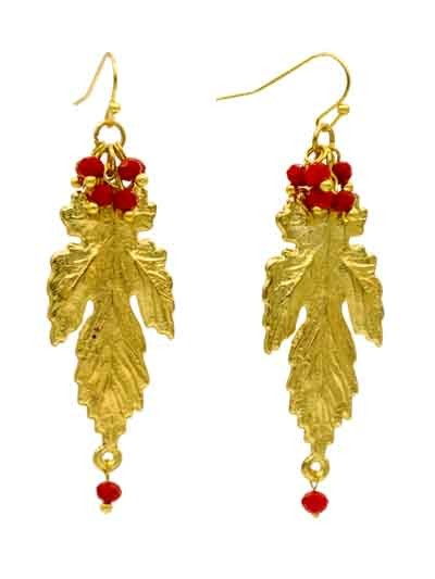 Alloy Metal Dangler Rusted Gold Leaf Western Earrings for Women and Girls