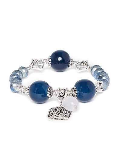 Blue and Silver Floral Charm Bracelet