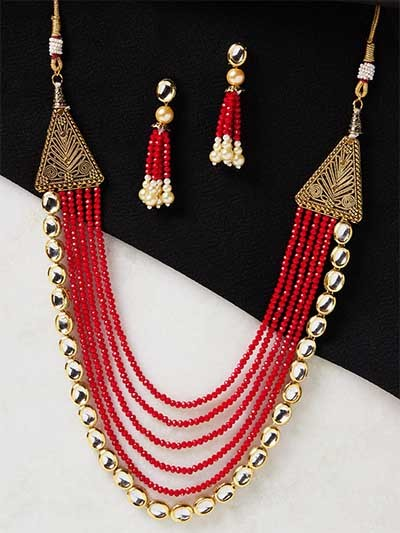 Gold-Plated Red Kundan Jewellery Set