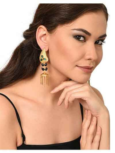 Long Tassel Studded Brass Earrings