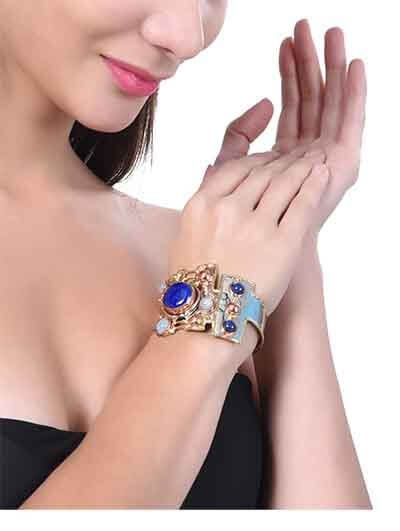 Brass Cuff Studded With Lapis Lazuli & Aqua Calcy Gemstones