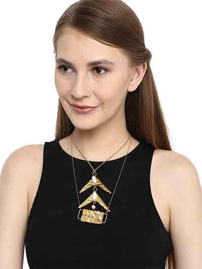 Multi Level Brass Pendants With Pearls Fashion Necklace