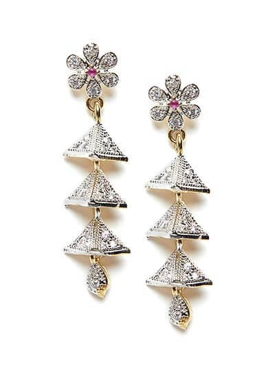 American Diamond Flower Dangle Earrings with Red Stone
